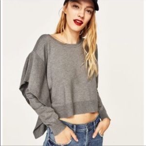 Zara Knit Grey Cropped Sweater with Side Ruffle